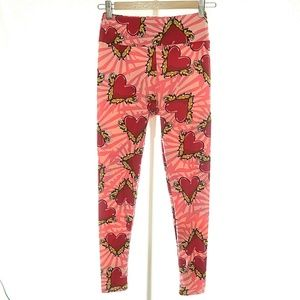 LulaRoe OS Leggings Pants Women's Pink Red Yellow